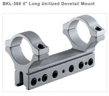 "BKL360 Silver 30mm 1 Piece Air Rifle Rimfire Unitized 3/8"" 9-11mm Dovetail Mount - High"